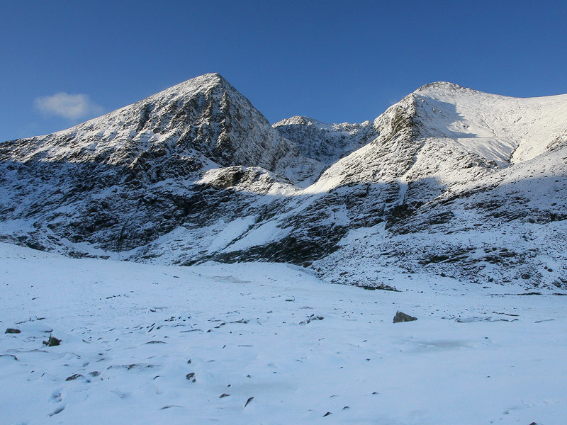 Corran Tuathail and Been Chaorach in winter