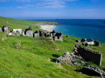 The ruins of the once lively homes of a population of up to 200 people who lived on the Great Blasket