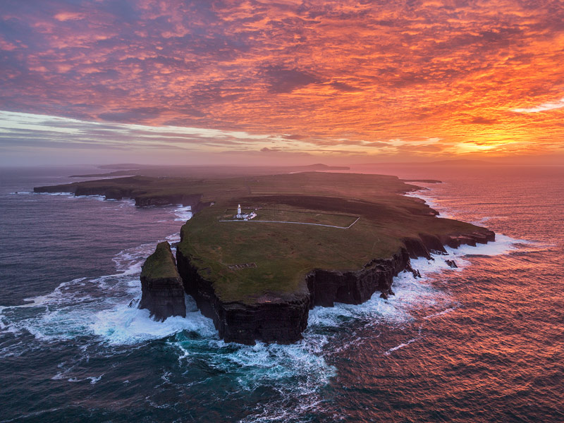 Dawn over Loop Head Lighthouse, County Clare, 'a great Atlantic promontories that marks the northern arm of the Shannon River Estuary.