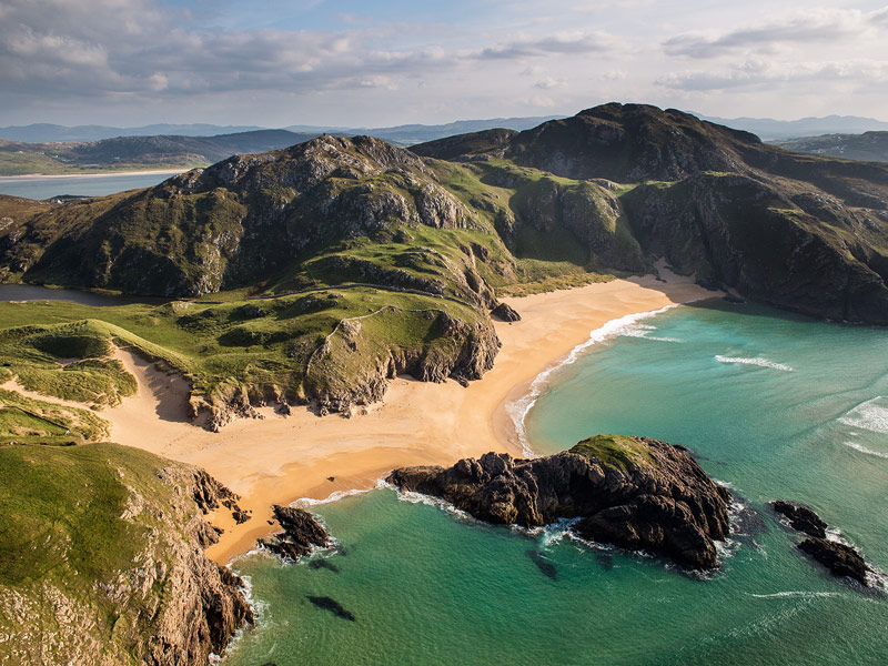 elmore Head is located near the most northerly point on the island of Ireland and the Murder Hole cove here just one of several spectacular and remote beaches in County Donegal