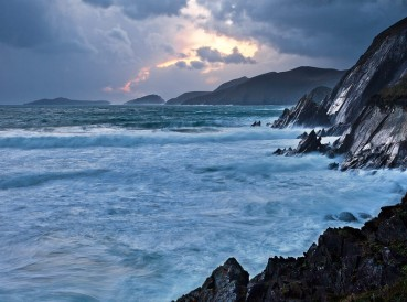 The Wild Atlantic Coast lies between the points at the extreme south and north of the island of Ireland, an interface of land and awesome ocean. (Slea Head, Dingle Peninsula, County Kerry)