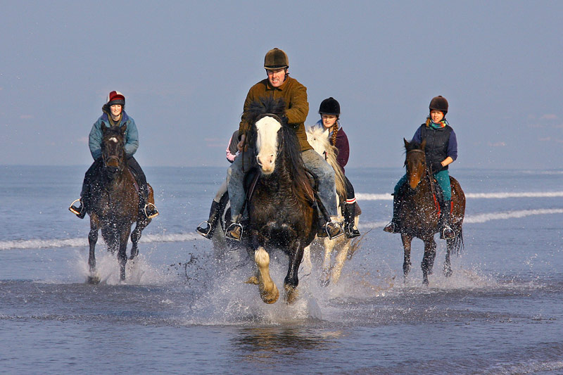 Horse-riding on Rossbeigh Beach