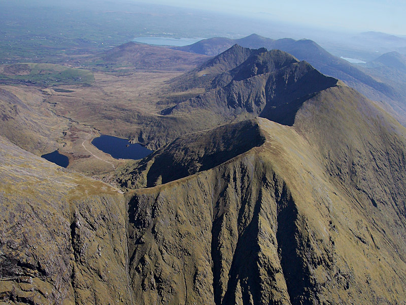 Aerial view of the Reeks from the south
