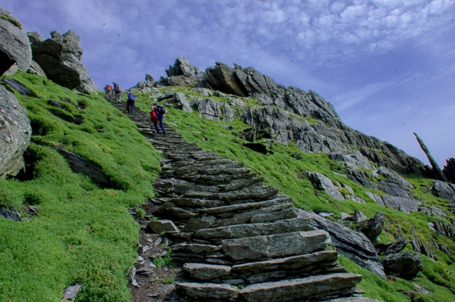 Ascending to the monastic ruins of Skellig Michael, County Kerry