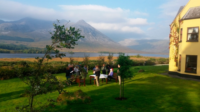 Pre-breakfast prayer at Lough Inagh Lodge, Connemara, County Galway