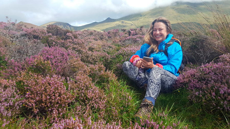 Relaxing among the Purple Heather on the slopes of Mount Brandon