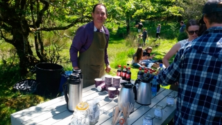 Sharing local artisan foods at a remote picnic site