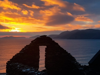 Spring sunset over the Blasket Island, Dingle Peninsula, County Kerry