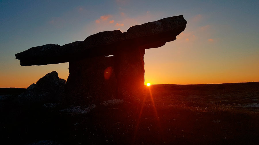 Sunset meditation at a Burren dolmen