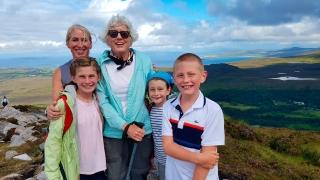 Three generations hiking in Connemara, County Galway