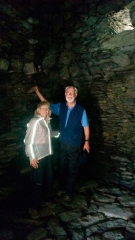 Two priests in a 5th century monastic cell on Skellig Michael